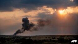 Бои в районе Ждановки в Донецкой области.