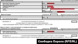Личните данни са заличени от Свободна Европа, в първоначално публикуваната от ИВСС декларация на съдия Тодорова те бяха видими