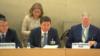 На кадре из прямой трансляции — министр юстиции Казахстана (в центре) зачитывает отчет в рамках Рабочей группы Универсального периодического обзора (УПО) Совета по правам человека ООН.