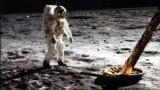 Эдвин (Базз) Олдрин на поверхности Луны у ноги модуля. 20 июля 1969 года