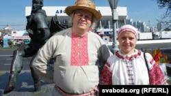 Кіраўніца ансамблю «Крывічы» Воля Галанава і Алег Рудакоў