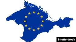 Карта Крыма в цветах флага ЕС. Иллюстративное фото.