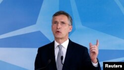 NATO Secretary-General Jens Stoltenberg speaks after a NATO-Russia Council meeting at the alliance's headquarters in Brussels on April 20.