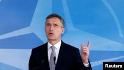 Secretarul general Nato, Jens Stoltenberg vorbind la Bruxelles după reuniunea de astăzi