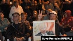 Slika predsjednika Rusije Vladimira Putina na protestu koji je organizovao DF, 28.septembar 2015