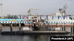 The inauguration of the Iranian-made Fateh (Conqueror) submarine in the southern port of Bandar Abbas on February 17.