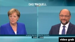Angela Merkel and her main rival, Martin Schulz, during a live TV debate.