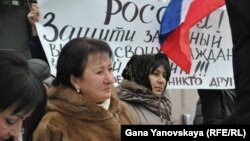 Alla Dzhioyeva attends a protest by her supporters in Tskhinvali on January 28.