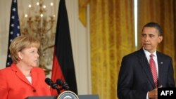 U.S President Barack Obama and German Chancellor Angela Merkel at a White House news conference.