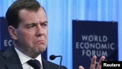 Дмитрий Медведев во время выступления на открытии Международного экономического форума в Давосе, 26 января 2011
