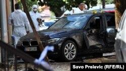 Istražni tim analizira automobil Vasilija Vujovića, Cetinje, 2017.