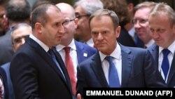 Rumen Radev cu Donald Tusk, președintele Consiliului European