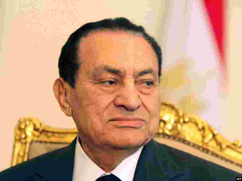 Mubarak in Cairo on February 8, amid massive protests calling for his resignation.