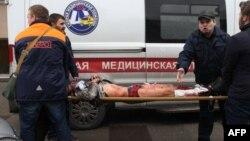 Ռուսաստան - Սանկտ Պետերբուրգի մետրոպոլիտենում պայթյունի հետևանքով տուժածներին բուժօգնություն է ցուցաբերվում, 3-ը ապրիլի, 2017թ․