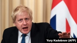 British Foreign Secretary Boris Johnson speaks during a joint press conference with his Russian counterpart following their meeting in Moscow, December 22, 2017