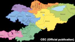 Кыргызстандагы бир мандаттуу округдардын картасы. Жалпы 36 округ. Сентябрь, 2021-жыл.