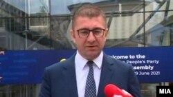 Лидерот на ВМРО-ДПМНЕ Христијан Мицкоски во Брисел.