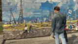 Kazakhstan - Almaty - A girl is watching a piece by painter Saule Suleimenova.