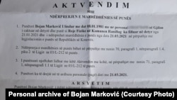 Aktvendimi për ndërprerjen e marrëdhënies së punës të Bojan Markoviqit.