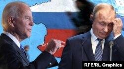 ولادیمیر پوتین رئیس جمهور روسیه (راست) جوبایدن رئیس جمهور امریکا