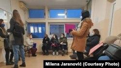 Trudnice u čekaonici Doma zdravlja u Mladenovcu, 26. januar