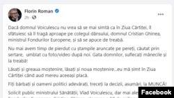 Postarea de pe Facebook de la Florin Roman
