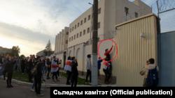 Яўген Рапін каля ІЧУ на Акрэсьціна, 4 кастрычніка 2020 г.