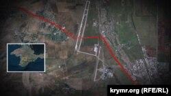 Червоним пунктиром позначено тунель, що лежить під злітно-посадковою смугою Сімферопольського аеропорту