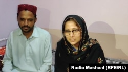 Kumari sits next to her Muslim husband, Shakeel Kuri, following her rapid conversion, which her family believes was coerced.