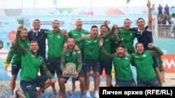 """Националният отбор на България през 2018 г. след спечелването на Дивизия """"Б"""""""