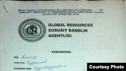 ", ""Global Resources"" хусусий бандлик агентлигига тўлов ҳужжати."