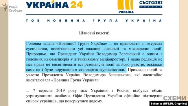 Відповідь телеканалу «Україна» на запит «Схем»