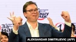 Սերբիա - Նախագահ Ալեքսանդր Վուչիչը տոնում է իր կուսակցության հաղթանակը, Բելգրադ, 21-ը հունիսի, 2020թ.