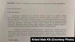 Pismo Kriznog štaba Kantona Sarajevo