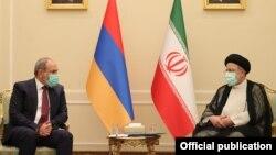 Iran - Iranian President Ebrahim Raisi meets with Armenian Prime Minister Nikol Pashinian, Tehran, August 5, 2021.