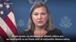 """Victoria Nuland: """"Rusia se confruntă cu un front unit al națiunilor democratice, care cer comportament civilizat față de Ucraina"""""""