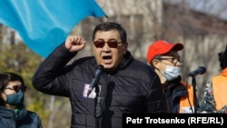 Ermurat Bapi speaks at a rally in Almaty on October 31.