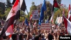 Bashar al-Assad tərəfdarlarının nümayişi