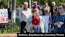 Людмила Семечева, председатель независимого профсоюза, организатор митинга в Охе (Сахалин)