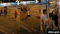 Тажик мигранттары чечендер менен калайман урушканы тартылган видеодон скрин.