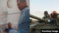 Фотографія з госпіталю ім. Бурденко, на якій Євген Усов у кадрі з міністром оборони Росії Сергієм Шойгу (ліворуч) та танкісти 6-ї окремої танкової бригади збройних сил Росії