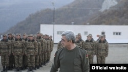 Armenia - President Serzh Sarkisian attends military exercises held by the Karabakh Armenian army, 12Nov2010