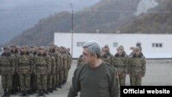 Armenia - President Serzh Sarkisian attends military exercises held by the Karabakh Armenian army, 12Nov2010