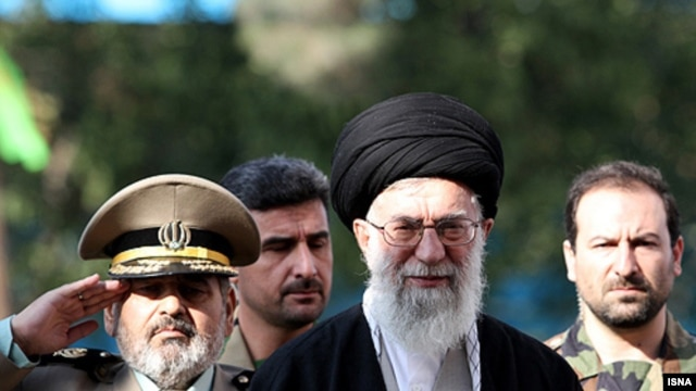 Iranian Supreme Leader Ayatollah Ali Khamenei (center) at a ceremony to swear in students of a military university in early November.