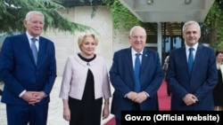 La Ierusalim cu președintele israelianReuven Rivlin, în tovărășia lui Liviu Dragnea și Teodor Meleșcanu, 25 aprilie 2018