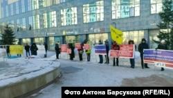 Пикет обманутых дольщиков в Новосибирске