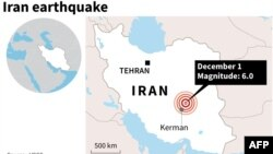 Қуатты жер сілкінісі болған тұс көрсетілген Иран картасы. 1 желтоқсан 2017 жыл.