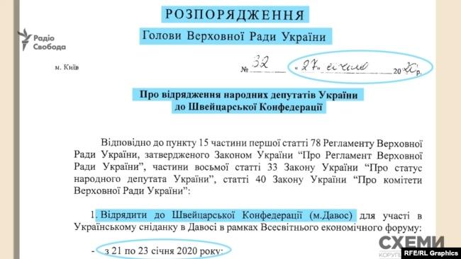 Розпорядження за підписом голови Верховної Ради Дмитра Разумкова видане 27 січня, а відряджають депутатів з 21 по 23 чи 24 січня