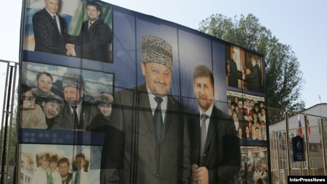 A billboard in the city of Gudermes features images of Ramzan Kadyrov (right) and his father, former Chechen leader Akhmed-hadji Kadyrov.