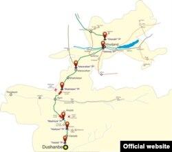 Карта платной дороги Душанбе-Чанак, фото с сайта IRS.tj